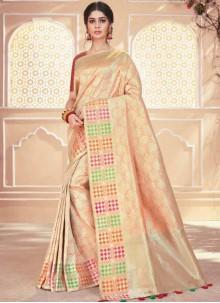 Beige Banarasi Silk Traditional Saree