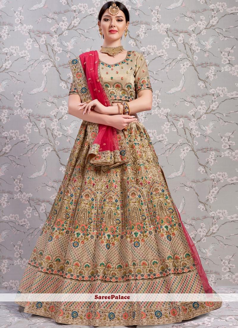 Buy Beige Bridal Lehenga Choli Online