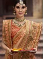 Beige Bridal Traditional Designer Saree