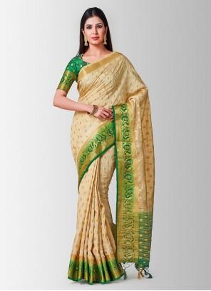 Beige Casual Designer Traditional Saree