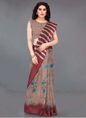 Beige Casual Printed Saree