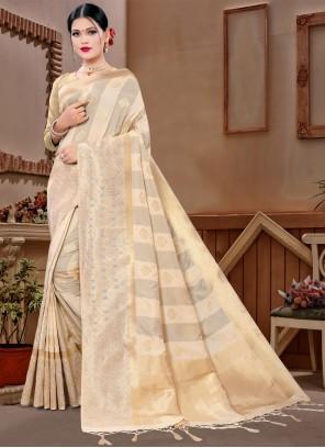 Beige Ceremonial Designer Saree