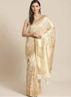 Beige Ceremonial Designer Traditional Saree