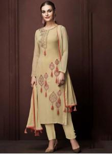 Beige Ceremonial Faux Georgette Designer Pakistani Suit