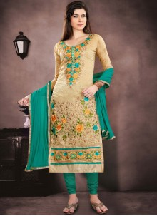 Beige Chanderi Cotton Salwar Suit