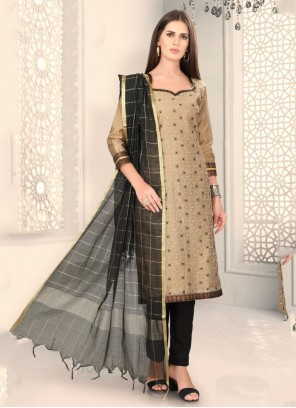 Beige Chanderi Fancy Churidar Designer Suit