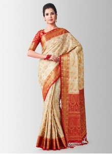 Beige Color Designer Traditional Saree
