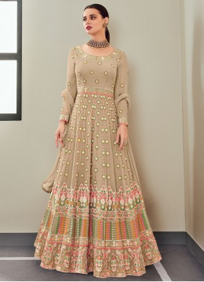 Beige Color Floor Length Anarkali Suit