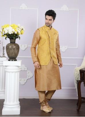 Beige Color Kurta Payjama With Jacket