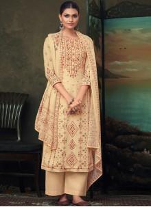 Beige Cotton Digital Print Salwar Suit