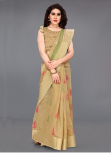 Beige Cotton Printed Traditional Saree