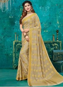 Beige Crepe Silk Designer Traditional Saree
