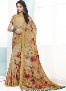 Beige Digital Print Cotton Designer Traditional Saree