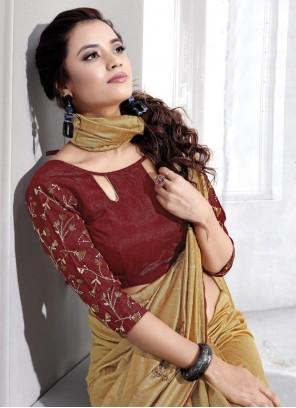 Beige Embroidered Art Silk Trendy Saree