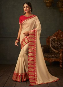 Beige Embroidered Ceremonial Designer Saree