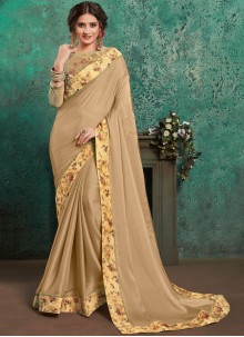 Beige Embroidered Classic Saree