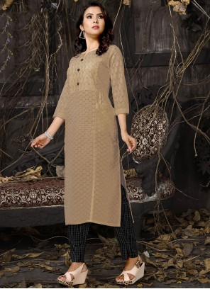 Beige Embroidered Cotton Casual Kurti