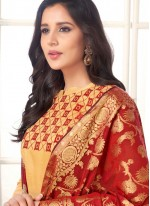 Beige Embroidered Cotton   Churidar Suit