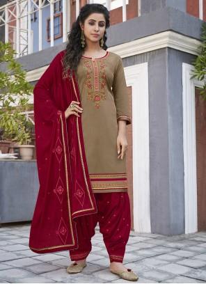 Beige Embroidered Cotton Designer Patiala Suit