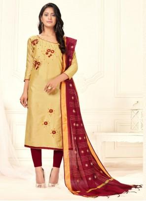 Beige Embroidered Cotton Salwar Kameez