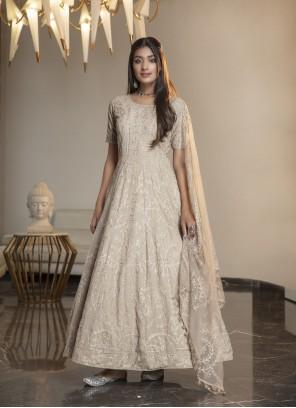 Beige Embroidered Designer Gown