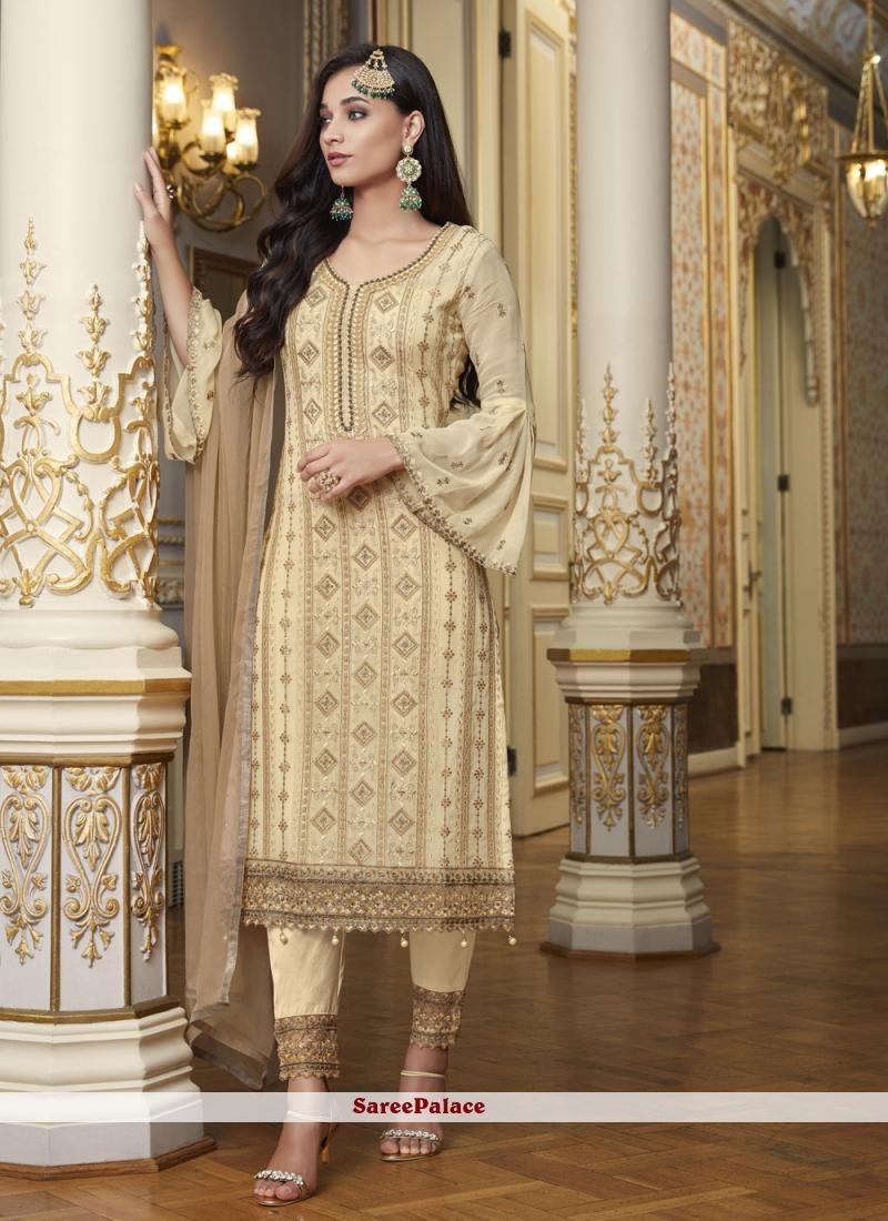Beige Embroidered Festival Designer Pakistani Suit
