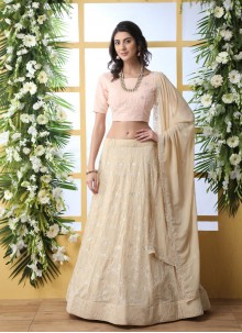 Beige Embroidered Georgette A Line Lehenga Choli