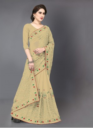 Beige Embroidered Georgette Classic Saree
