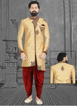 Beige Embroidered Mehndi Sherwani