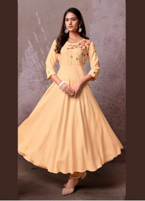 Beige Embroidered Rayon Party Wear Kurti
