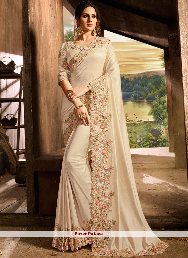 Beige Embroidered Sangeet Designer Saree