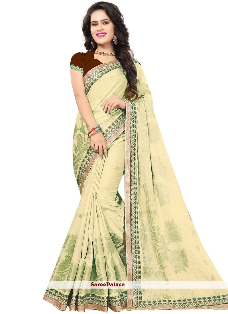 Beige Embroidered Sangeet Traditional Designer Saree