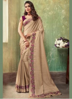 Beige Embroidered Silk Classic Saree
