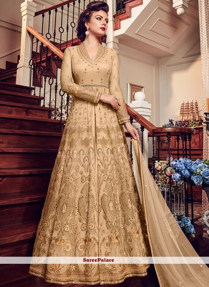 Beige Embroidered Wedding Floor Length Anarkali Suit