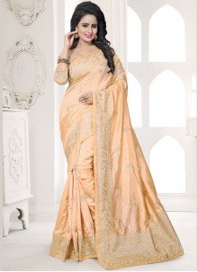 Beige Embroidered Work Art Silk Designer Traditional Saree