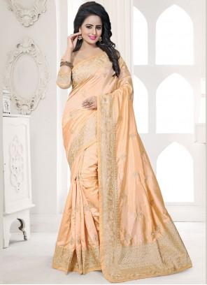 Beige Embroidered Work Art Silk Designer Traditional Saree
