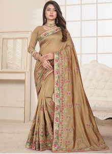Beige Fancy Fabric Traditional Saree