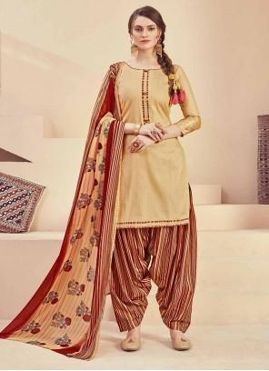 Beige Fancy Jacquard Designer Salwar Suit