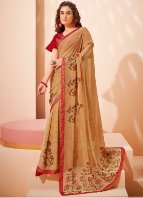 Beige Faux Georgette Abstract Print Saree
