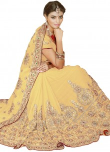 Beige Faux Georgette Embroidered Classic Saree