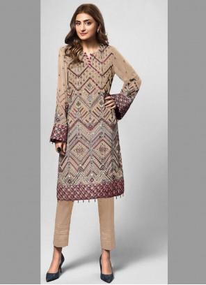 Beige Faux Georgette Embroidered Designer Pakistani Suit