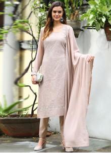 Beige Faux Georgette Thread Designer Straight Salwar Suit