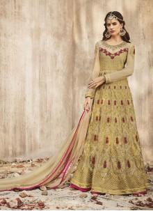 Beige Floor Length Anarkali Salwar Suit