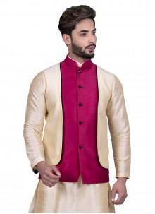 Beige Floral Print Sangeet Nehru Jackets