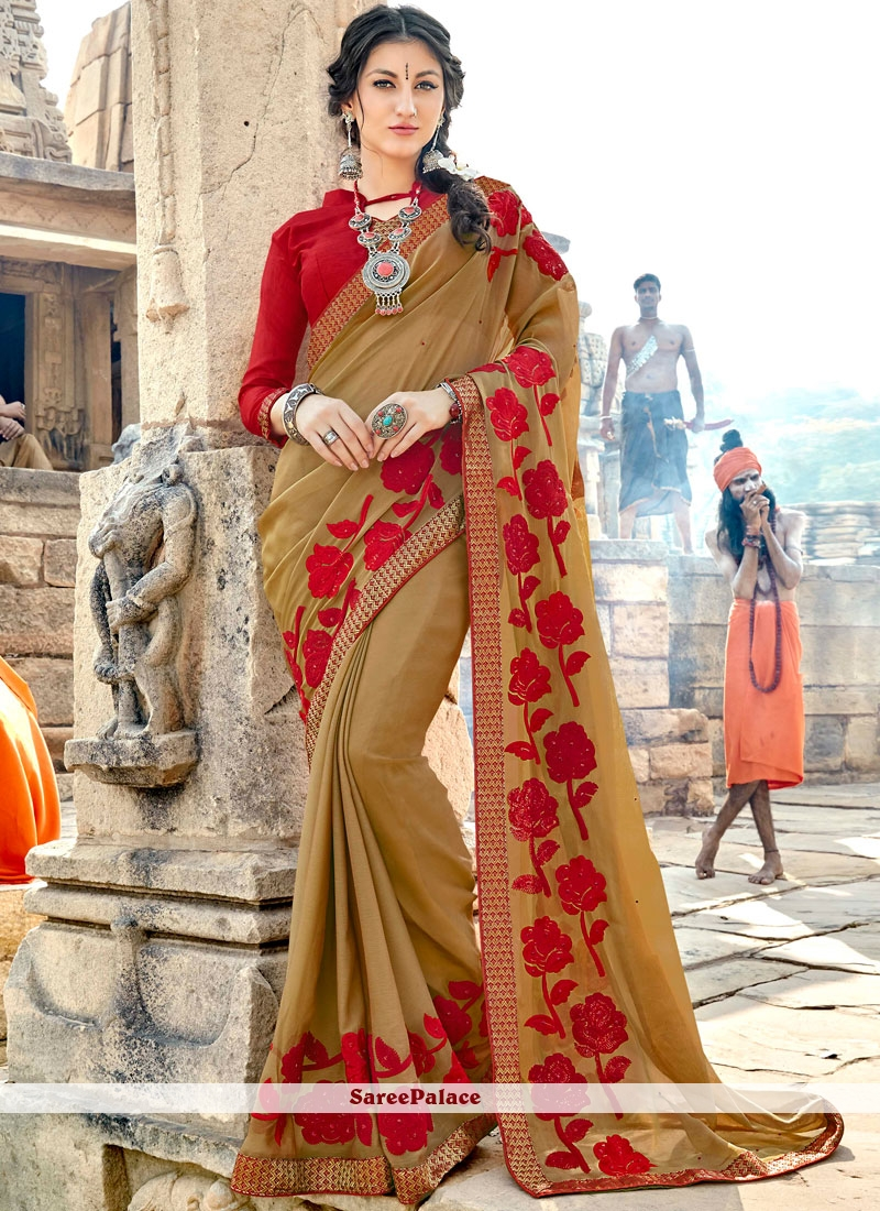 Beige Georgette Embroidered Classic Saree