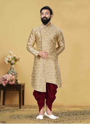 Beige Jacquard Silk Indo Western