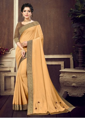Beige Lace Traditional Saree