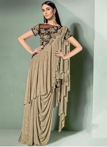 Beige Lycra Embroidered Designer Saree