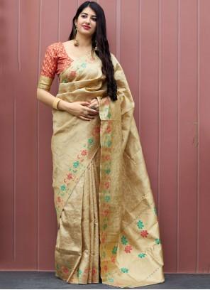 Beige Machine Embroidery  Art Dupion Silk Designer Traditional Saree