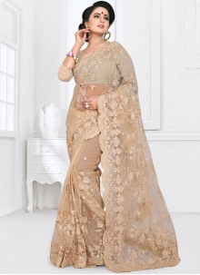 Beige Net Party Classic Saree